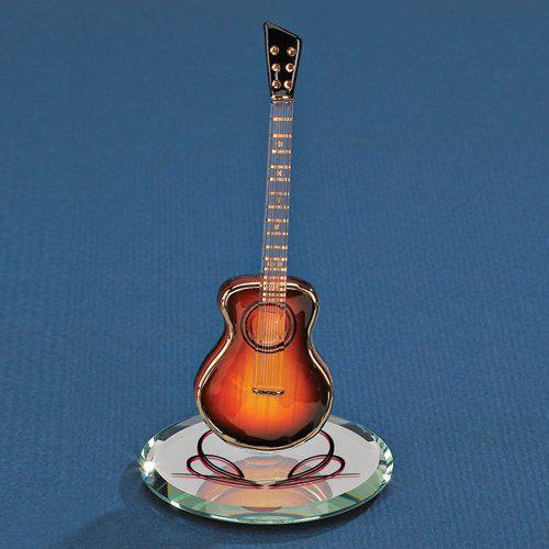 Sunburst Acoustic Guitar Glass Figurine Figurin Compras Cosas