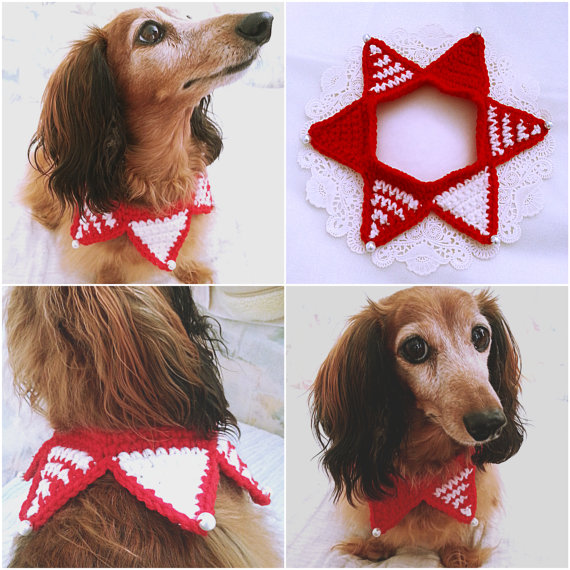 Crochet Christmas Dog Scarf, Christmas Dog Collar, Dog Bandana ...