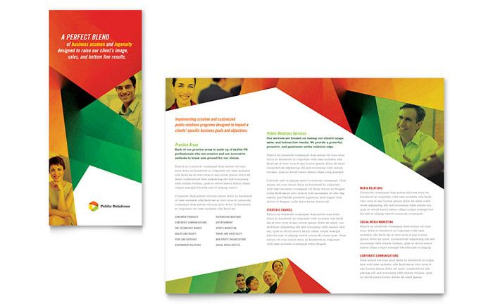 Public Relations Company Tri Fold Brochure Template Design By