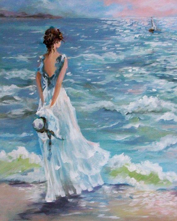 Годиком, женщина и море картинки нарисованные