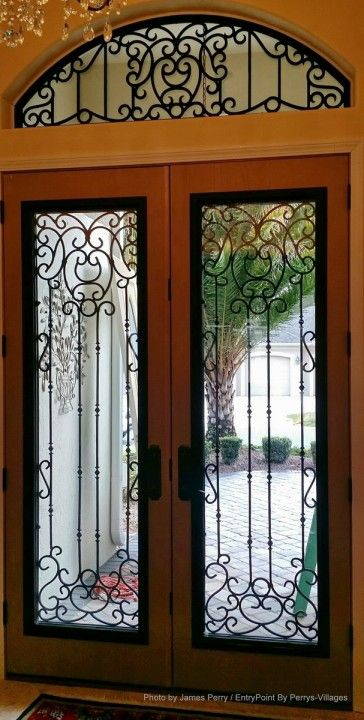 Tableaux Faux Iron Designer Grilles, entryway door in