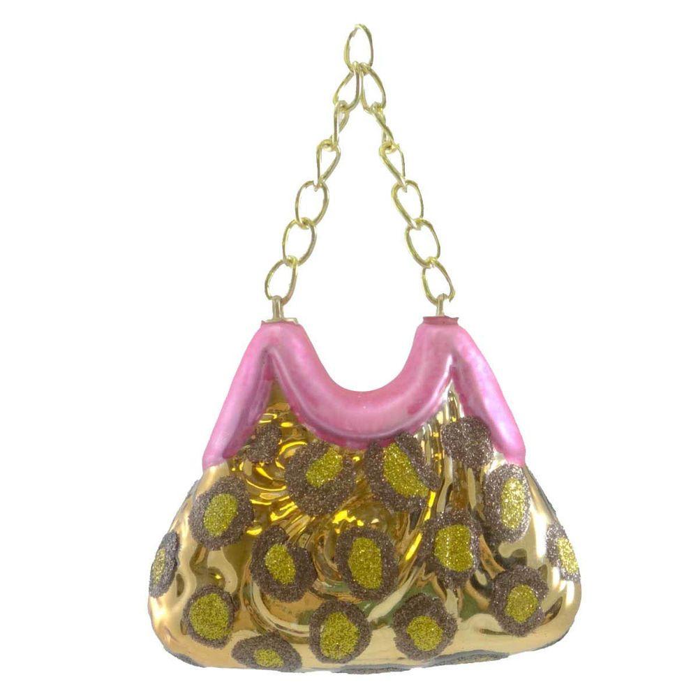 Holiday Ornament Diva Purse Glass Christmas Handbag 202642