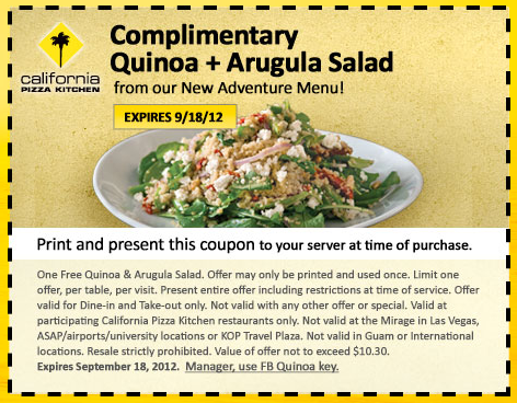 California Pizza Kitchen coupon for Complimentary Small Plate via ...