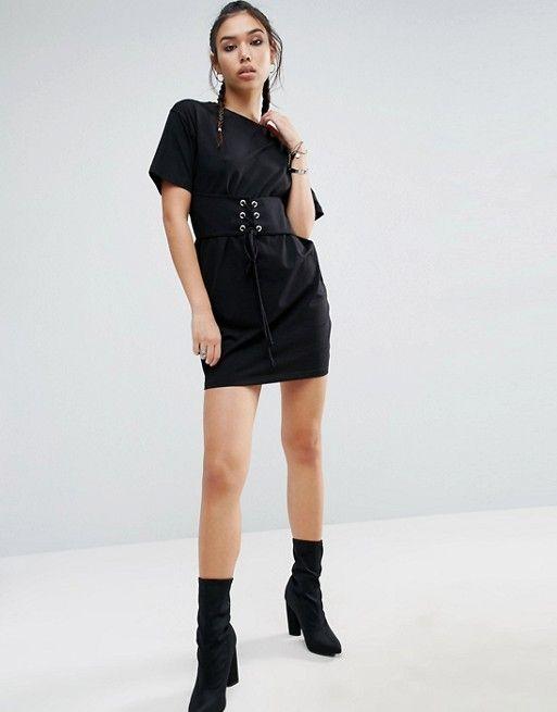 1e2261bf23b ASOS Corset Detail T-Shirt Dress