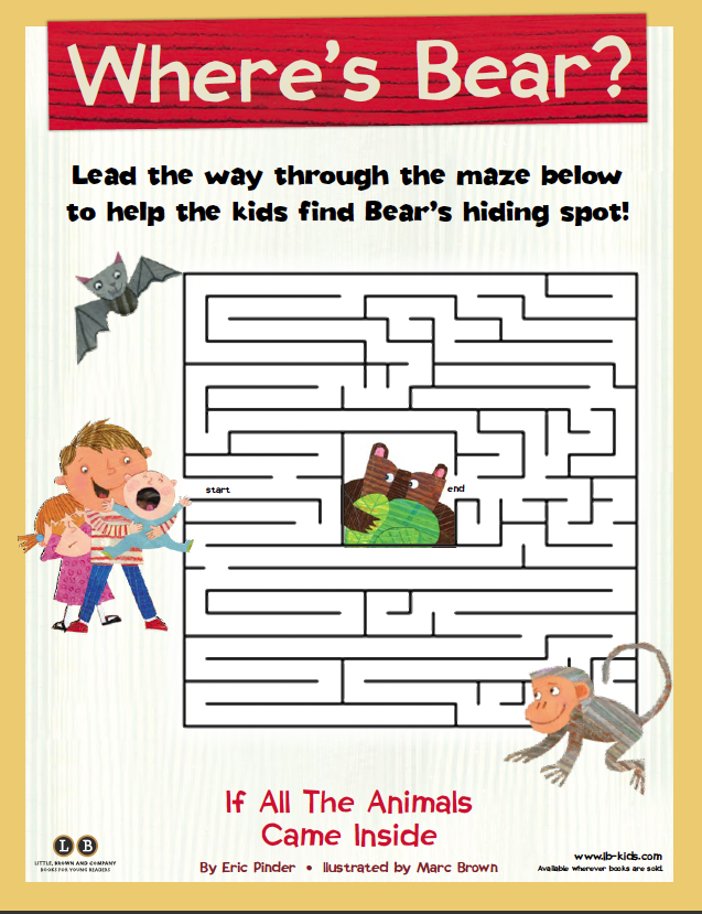 Can you find bear?!   If All the Animals Came Inside by Eric Pinder, illustrated by Marc Brown