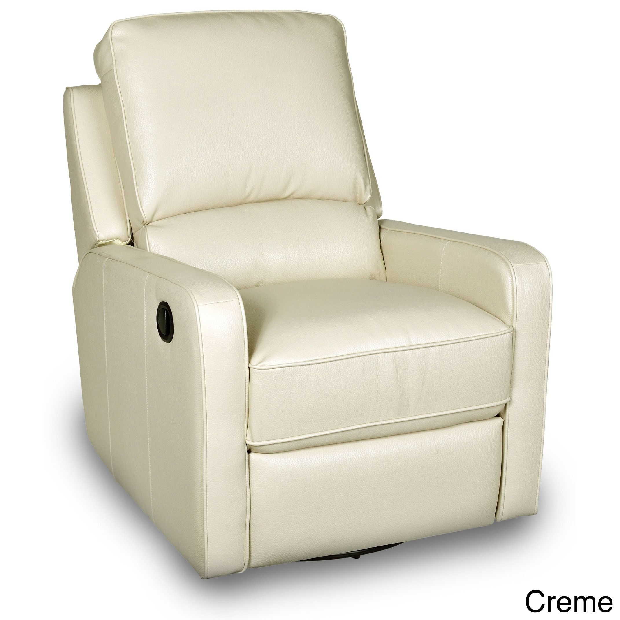 Opulence Home Perth Leather Swivel Glider Recliner (Creme), Beige, Size  Standard (