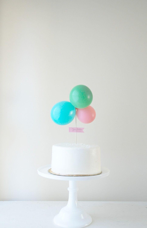 Balloon Cake Topper Kit with Custom Celebration by PotterandButler