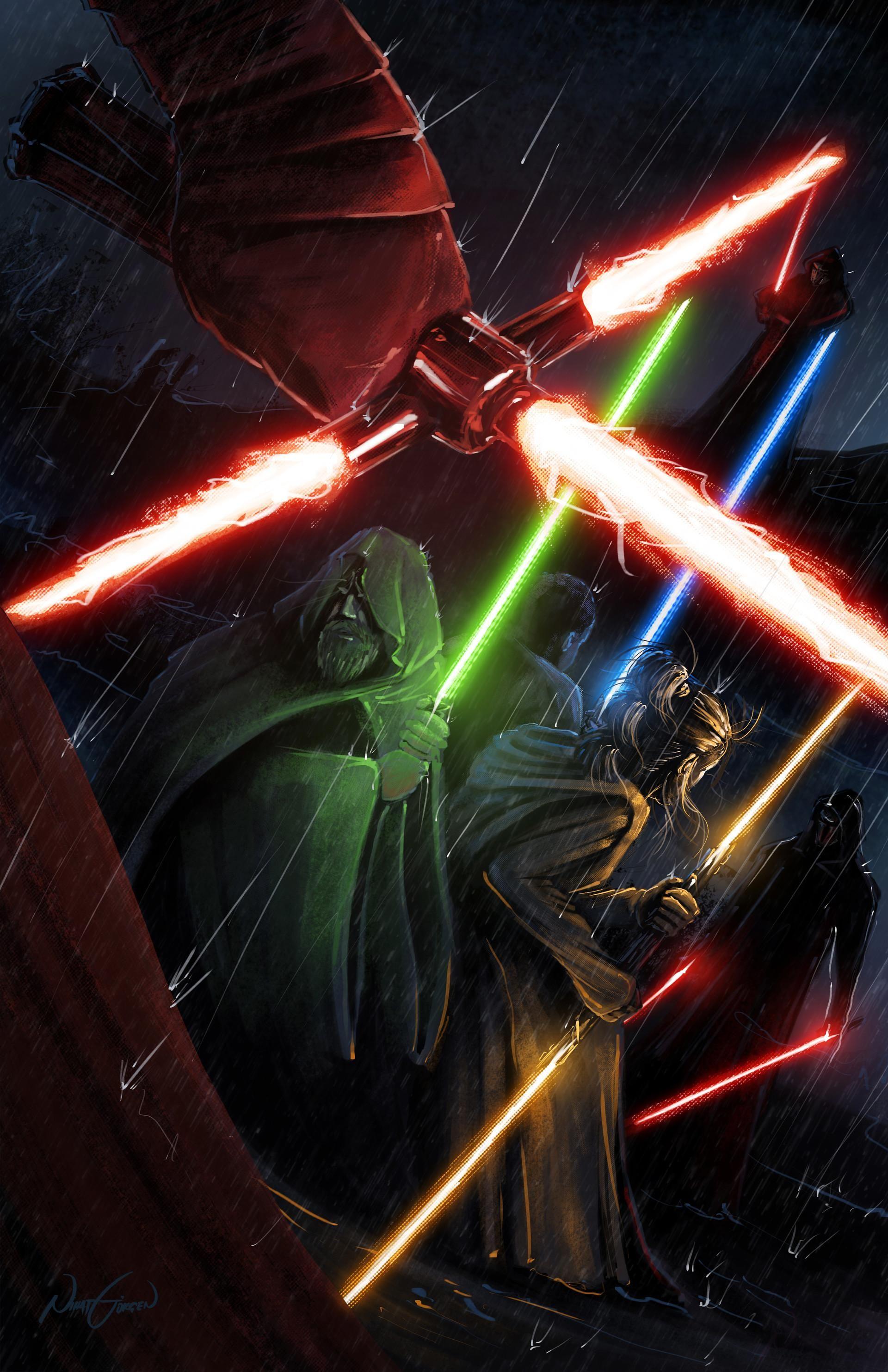Kylo Ren And His Knights Vs Master Luke Skywalker And His Padawan