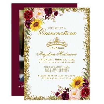 Quinceanera Gold Crown Watercolor Floral Photo Inv