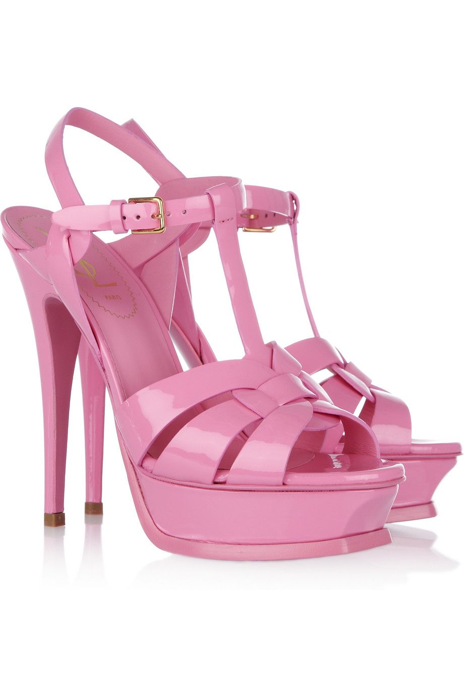 a2939dd581cc YVES SAINT LAURENT Tribute patent-leather sandals. My Husband fell in love  with this shoe and bought it for me. Unfortunately I don t like bubble gum  ...