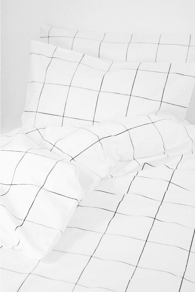 Grid Black White Duvet Quilt Cover 2 Pillow Cases Double Pre Order Only White Duvet Minimalist Bedroom Bedroom Interior
