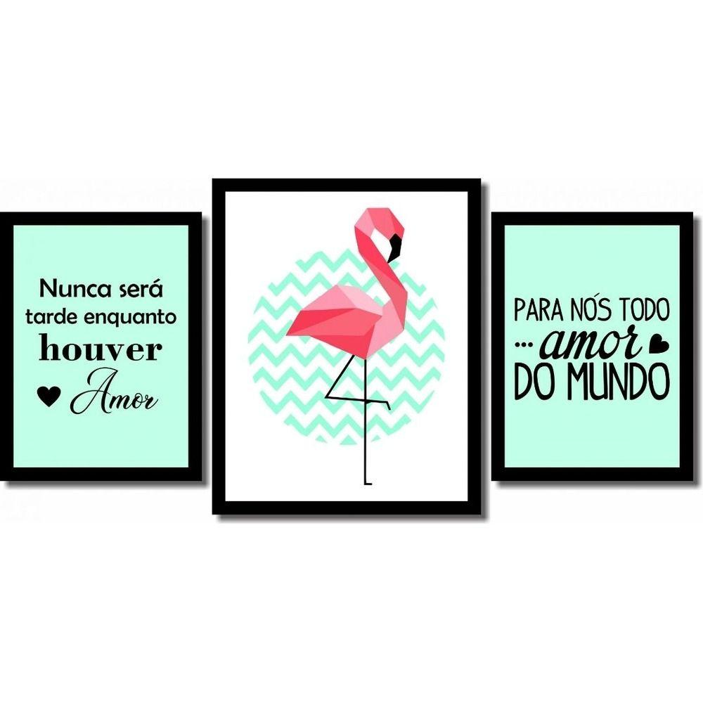 Kit 3 Quadros Decorativos Flamingo Verde E Frases Quadros