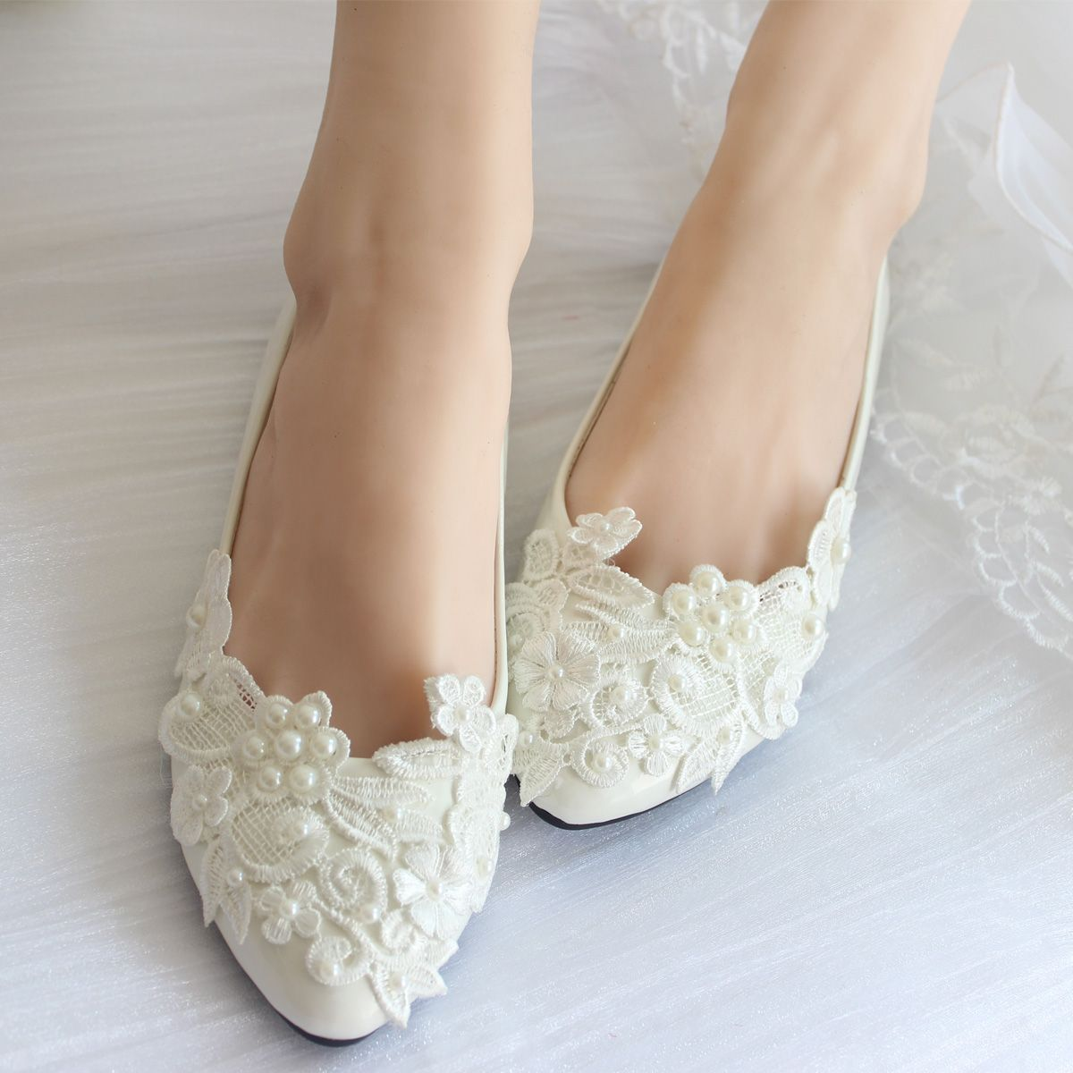 Find More Information about pearl lace wedding shoes white handmade bridal  bridesmaid  shoes flats heel low single shoes ladies shoes e8dbcd887d8f