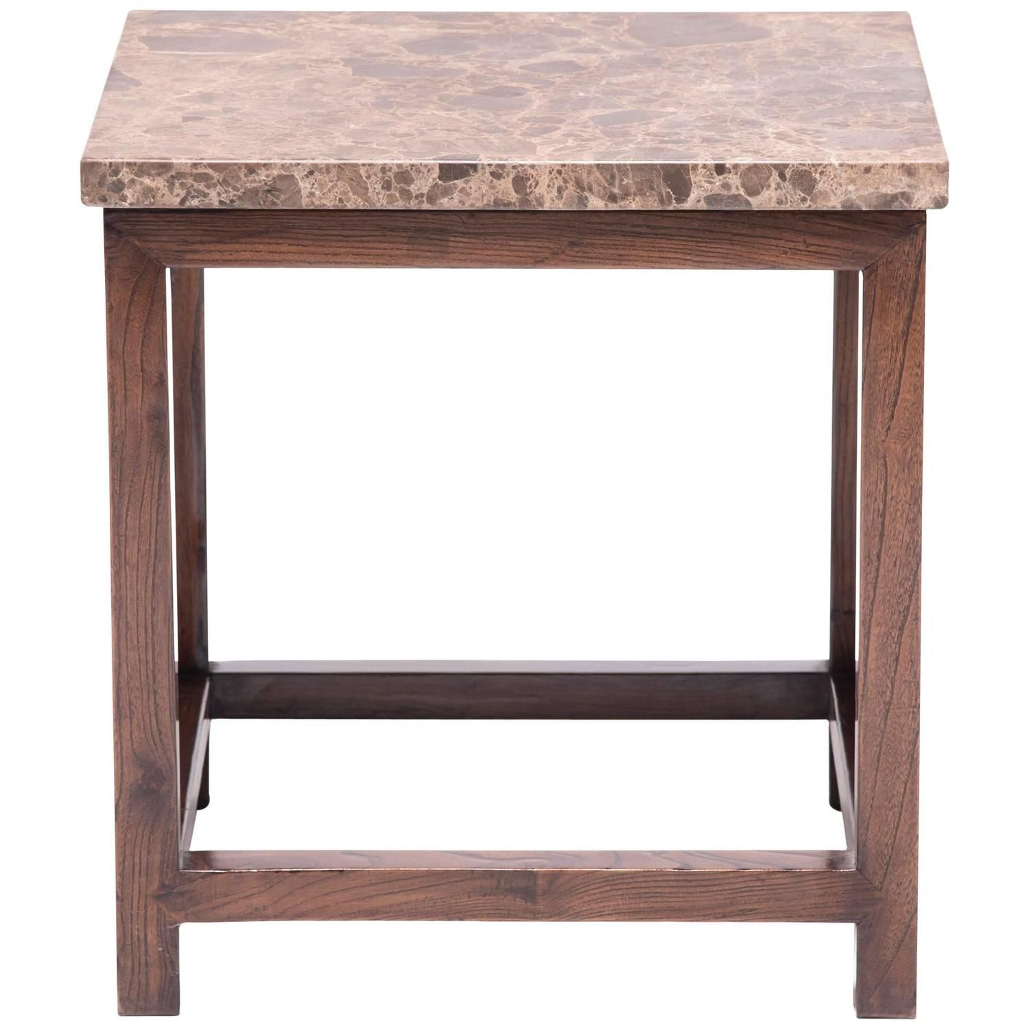 Chinese Square Side Table with Stone Top