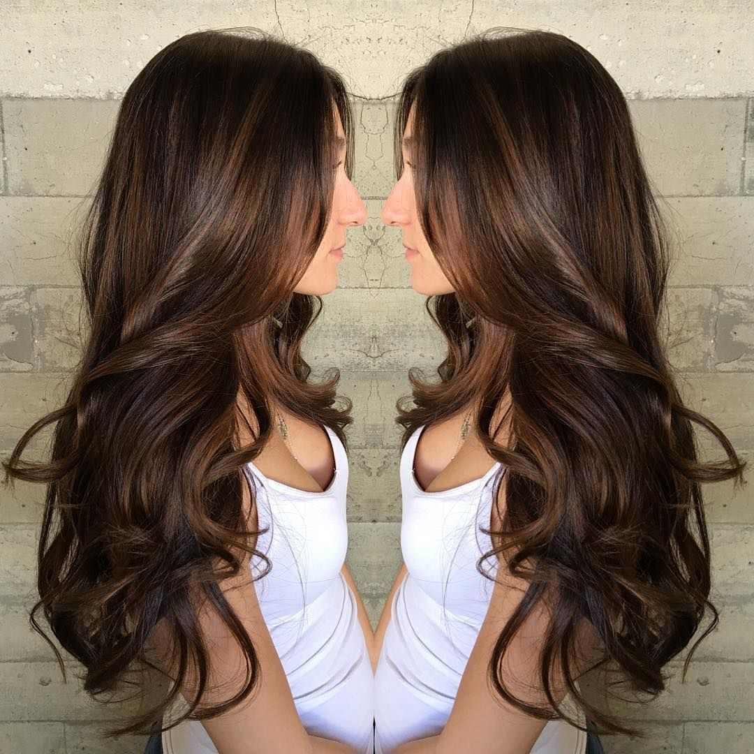 Dark Chocolate Brown Hair Color With Caramel Highlights Best Hair