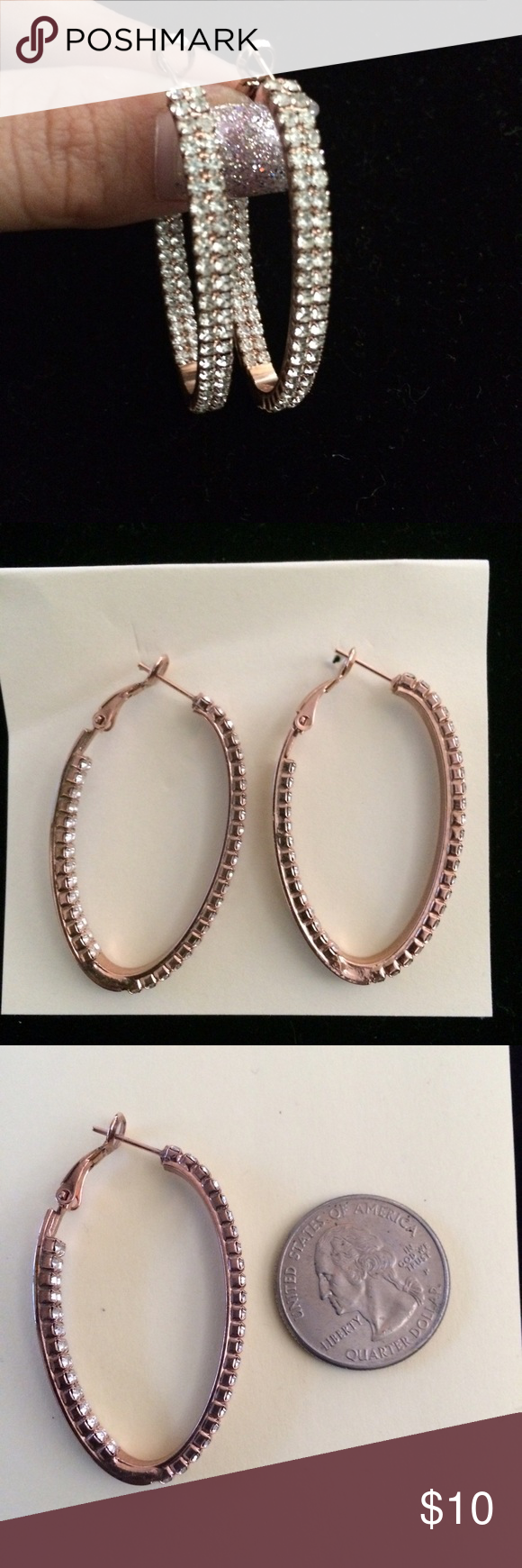 Rose gold colored earrings Beautiful rose gold colored hoop earrings with rinestones. Jewelry Earrings