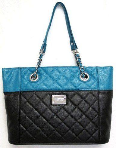 84 Women S Nine West Purse Handbag Quilted Color Block Teal Black