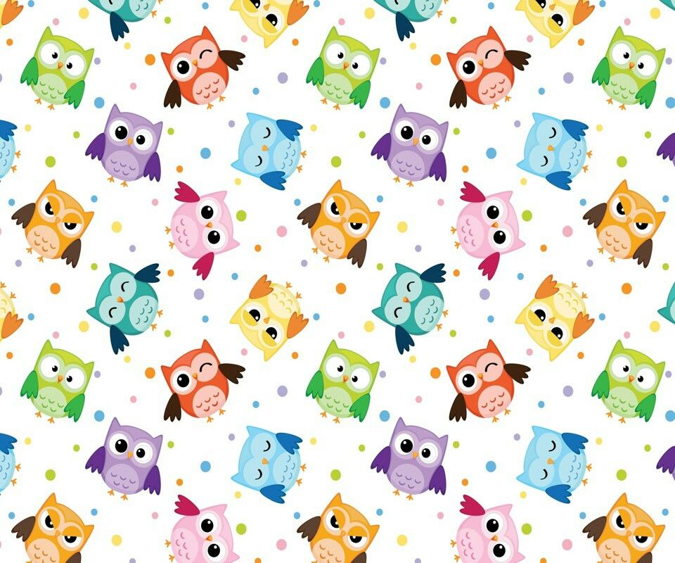 Cute Colorful Iphone Wallpaper: Colorful Owls And Polka Dots Background