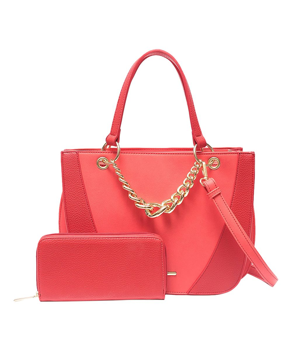 Red Chain-Accent Tote & Wallet Set
