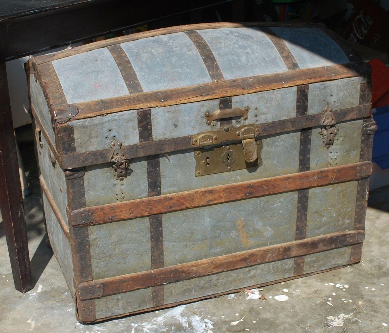Antique zinc covered hump or camel back trunk | Antiques ...