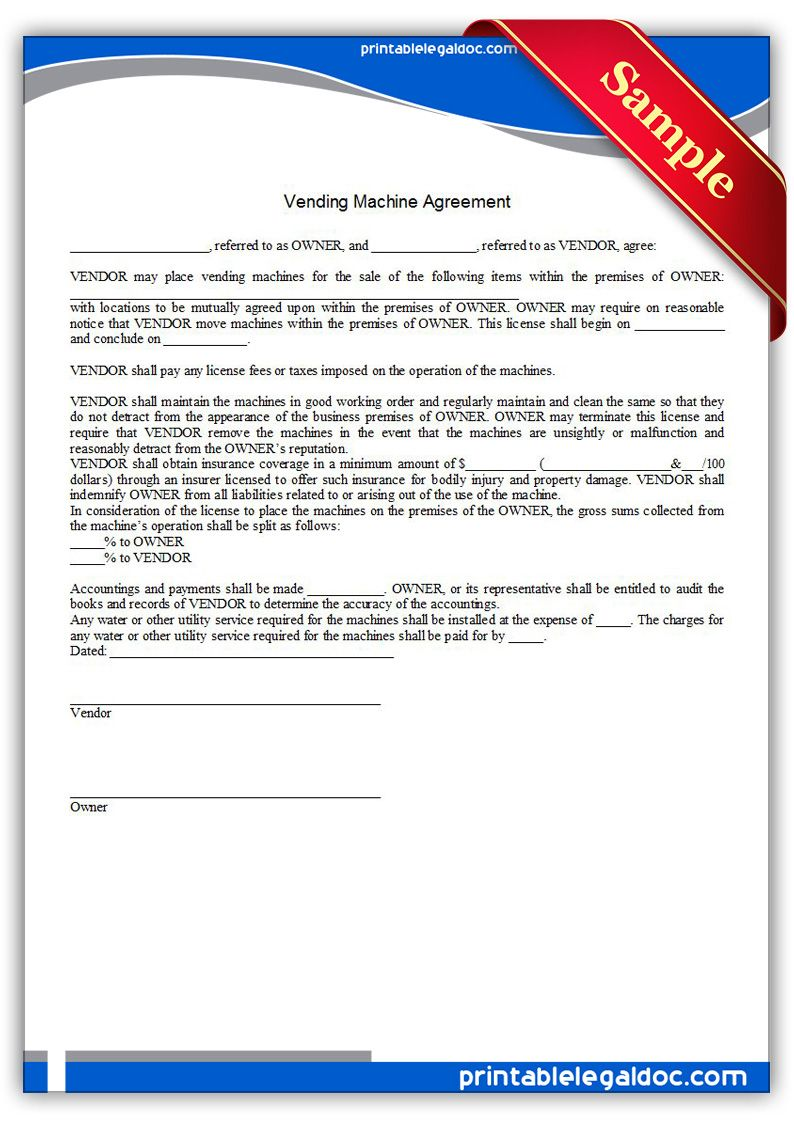 Printable Vending Machine Agreement Template  Printable Legal