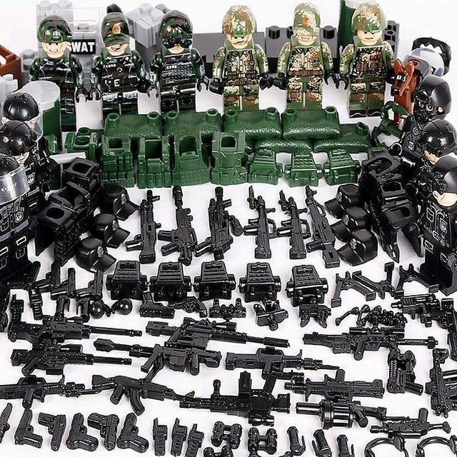 Military SWAT Team lot Police Army squad Weapons Minifigures blocks Set For Lego
