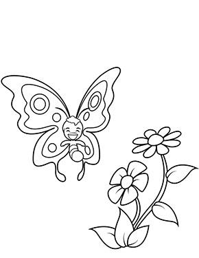 Ausmalbild Schmetterling Mit Blumen Malvorlagen Fur Madchen