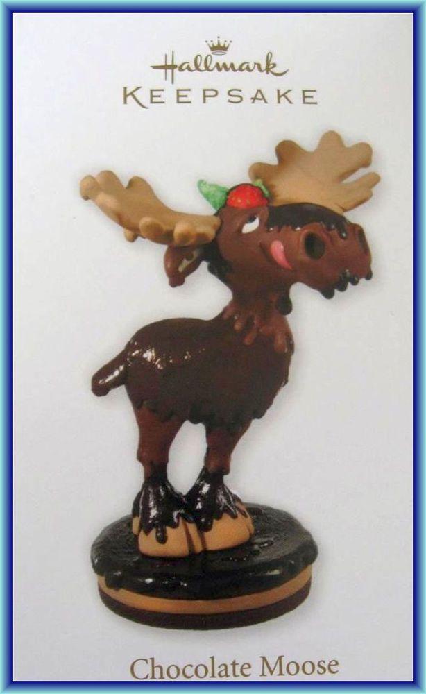 Hallmark 2012 Chocolate Moose MIB Christmas Ornaments - moose christmas decorations