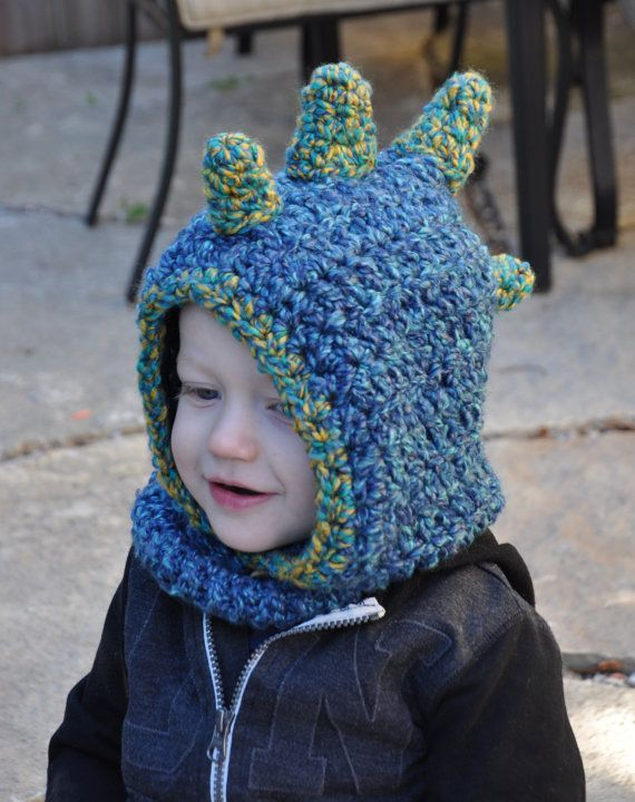 Crochet boy or girl hooded dinosaur/dragon cowl with wooden button ...