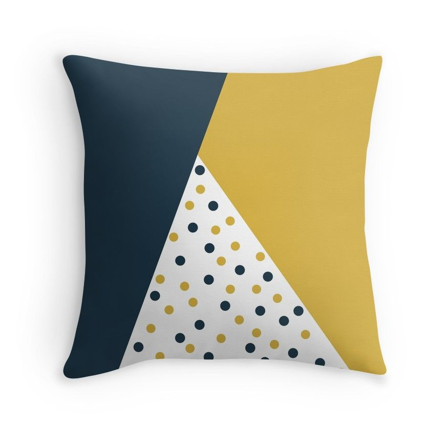 Dot Cascade Cheerful Minimalist Angled Color Block Design In Light Mustard Yellow Navy Blue And White Throw Pillow By Kierkegaard Yellow Bedroom Decor Blue Yellow Bedrooms White Throw Pillows