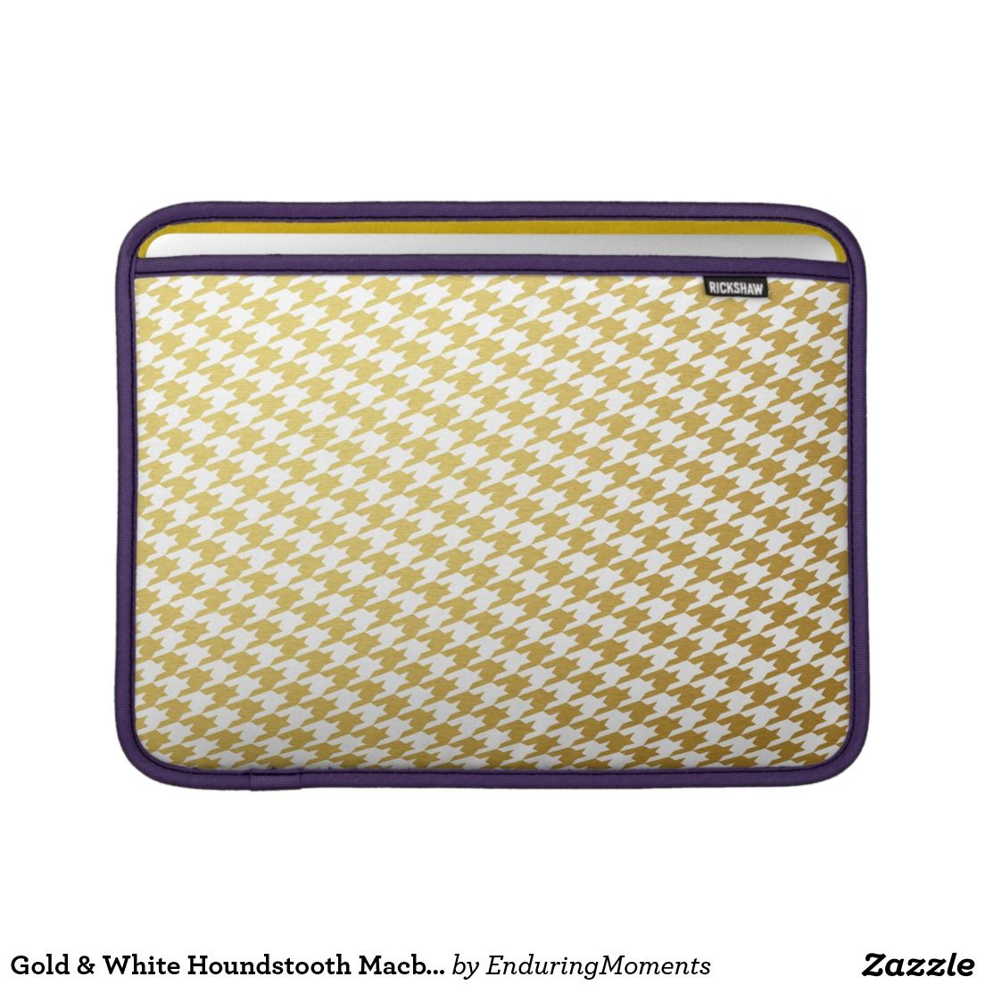 Gold & White Houndstooth Macbook Air Sleeve