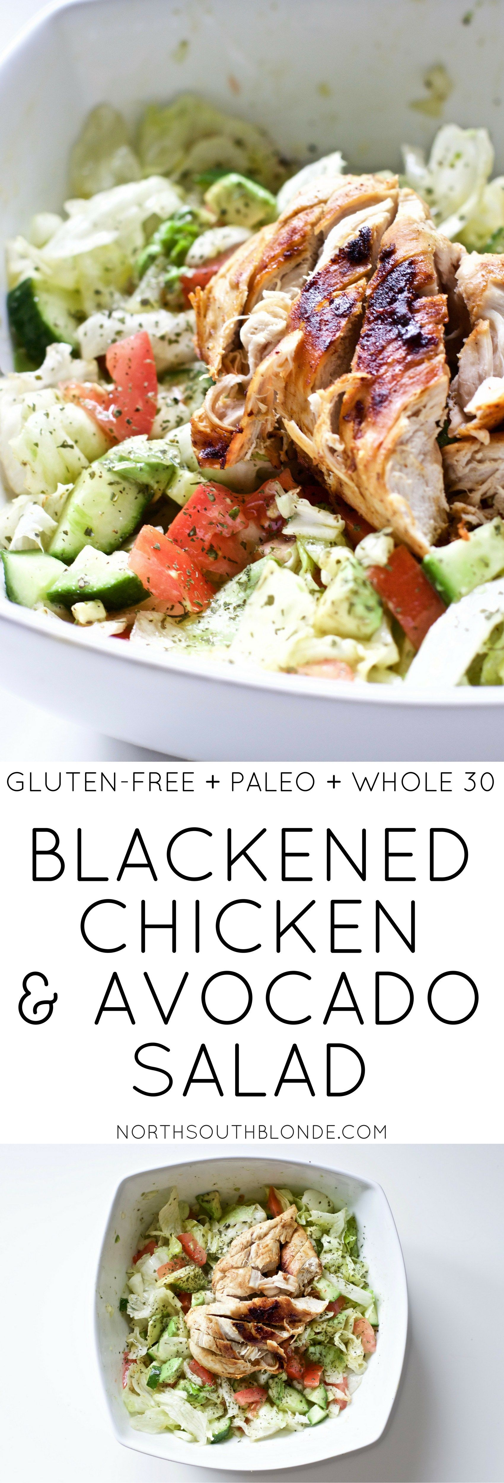 Blackened Chicken and Avocado Salad (GF, Keto, Paleo, Whole 30)