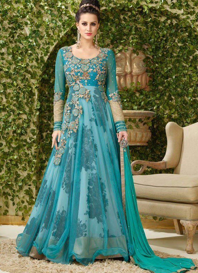 Shop Online Blue Bhagalpuri Silk Net #LongLengthSalwarSuit ...