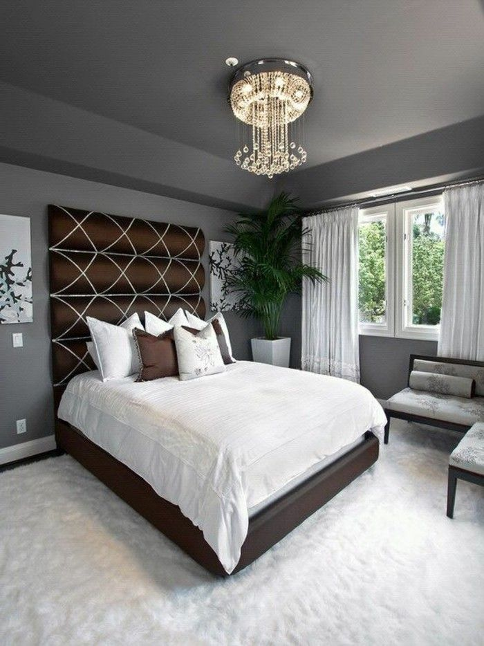 11 schlafzimmer dekorieren graues bett kronleuchter pflanze - schlafzimmer dekorieren ideen