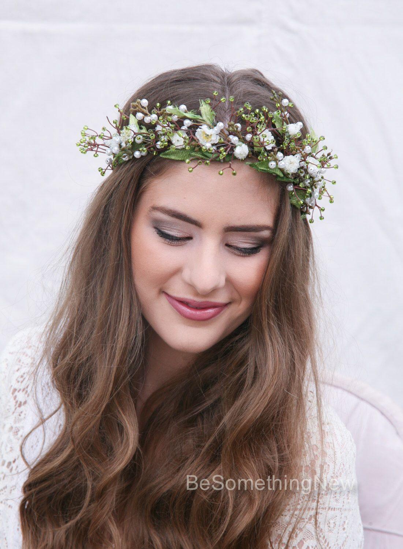 Green Wedding Flower Crown Rustic Flower Crown of Green Beads ... de05d1d7214
