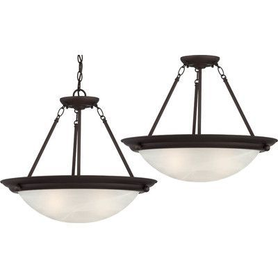 Volume Lighting Lunar 2 Light Pendant or Semi Flush Mount Finish: Antique Bronze