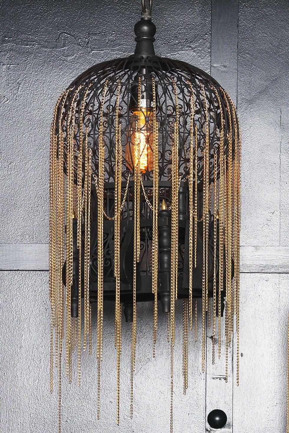 Tatooine Cascade Bird Cage Pendant Light Gold Chains Elegant Lights Matt Black Hanging Lanterns Are A Fusion Of Traditional