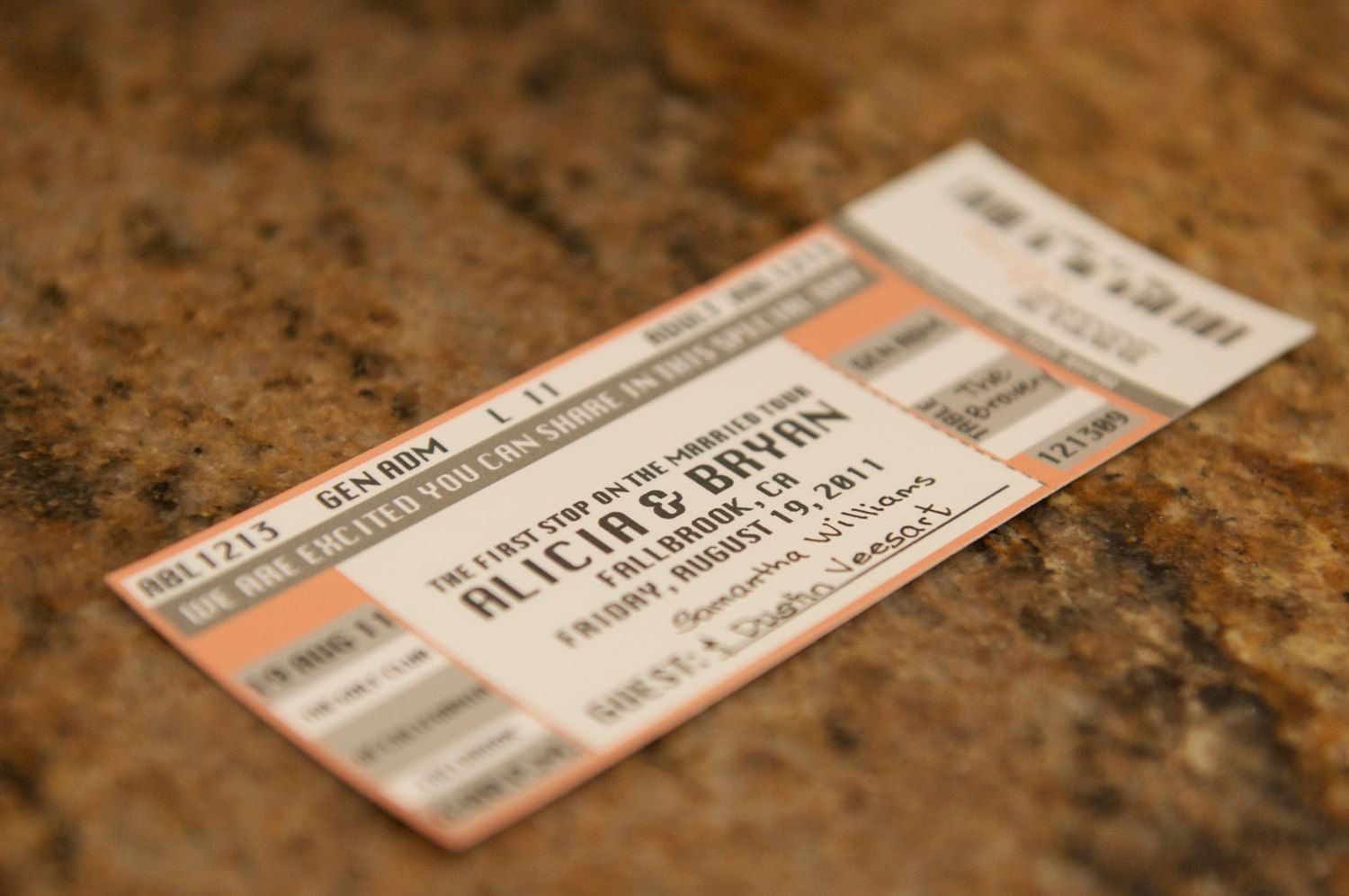 Concert Ticket Escort Card Place Card Sample 150 via Etsy – Concert Ticket Invitation Template