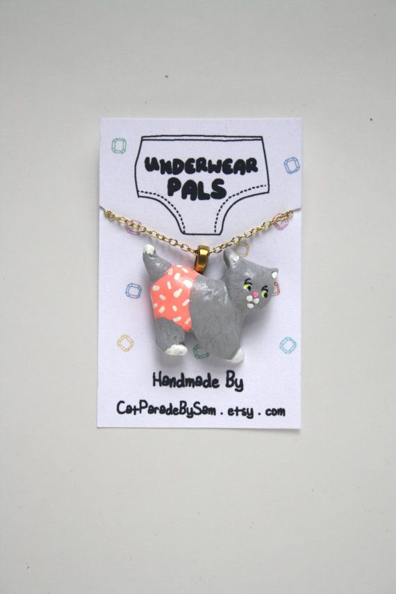 Cat Charm Necklace, Polymer Clay