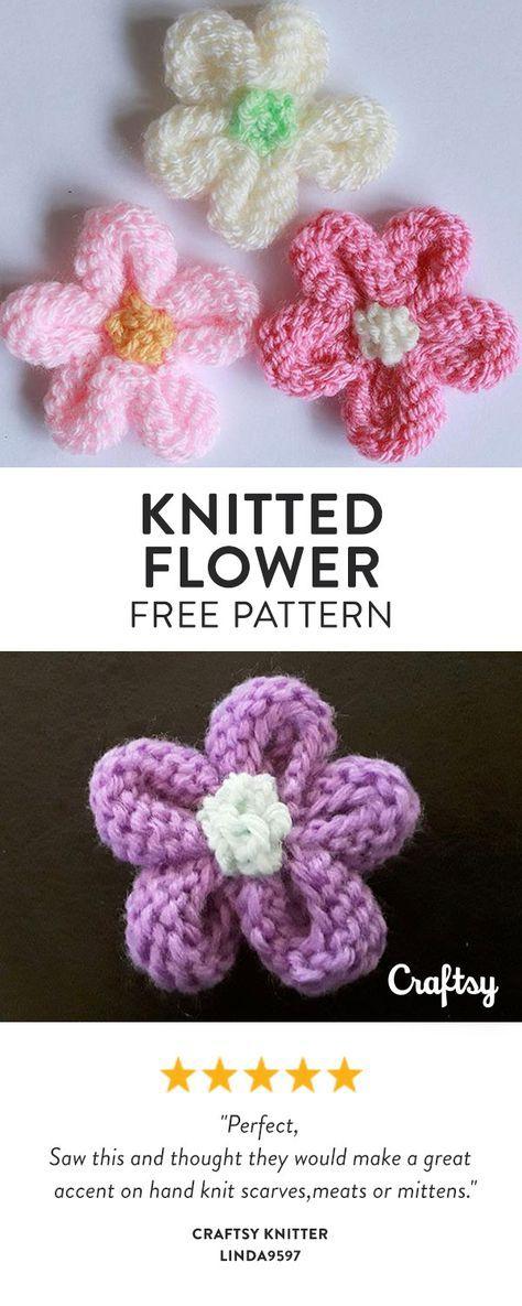 Knitted Flower Flower Pinterest Knitted Flowers Knitting And