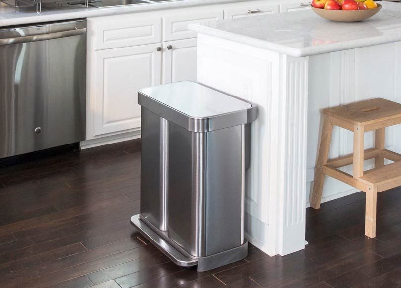 Dual Trash Can In The Kitchen Recycling Bins Kitchen Trash Can Trash And Recycling Bin