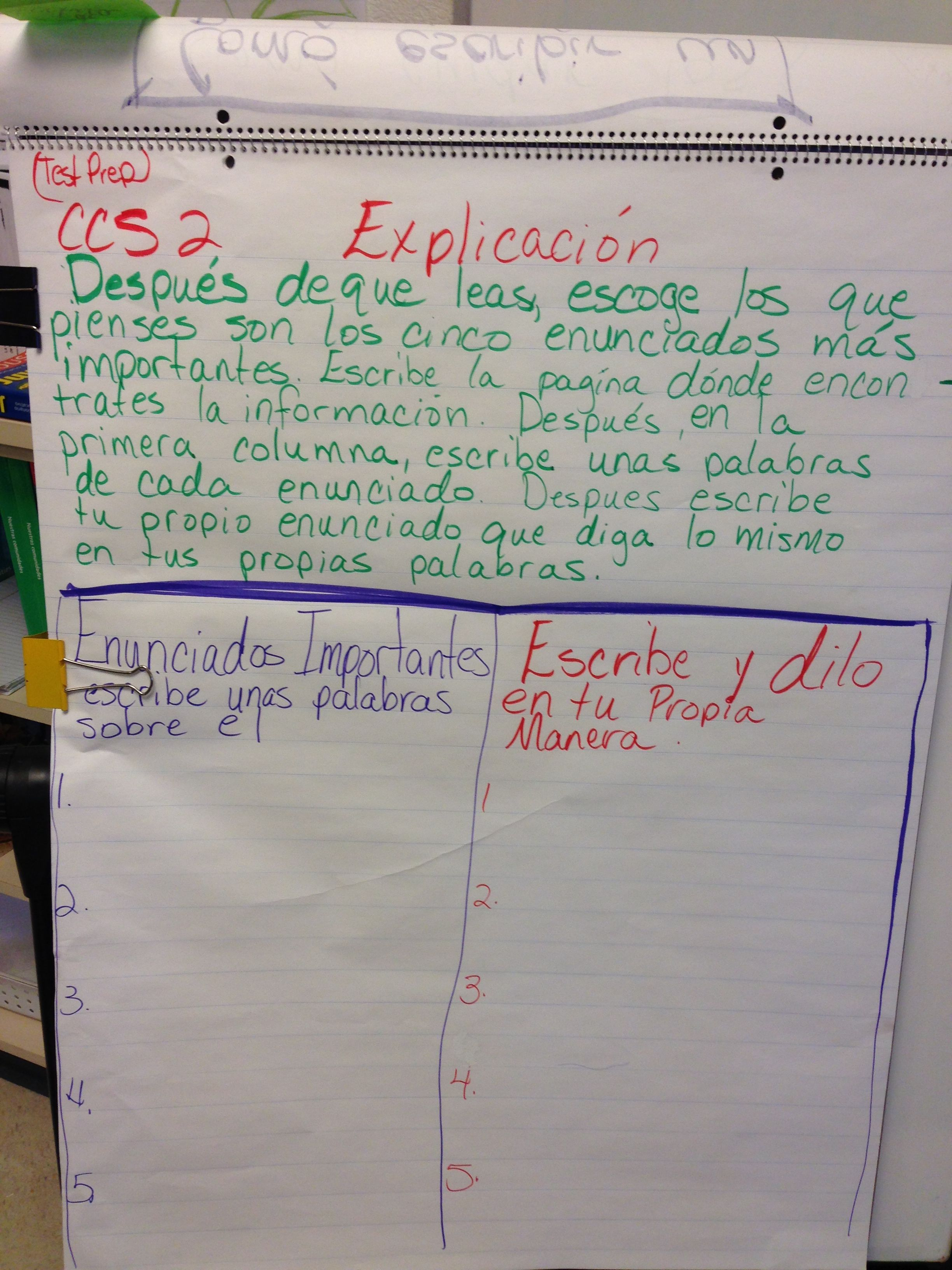 Anchor Charts In Spanish 3rd Grade
