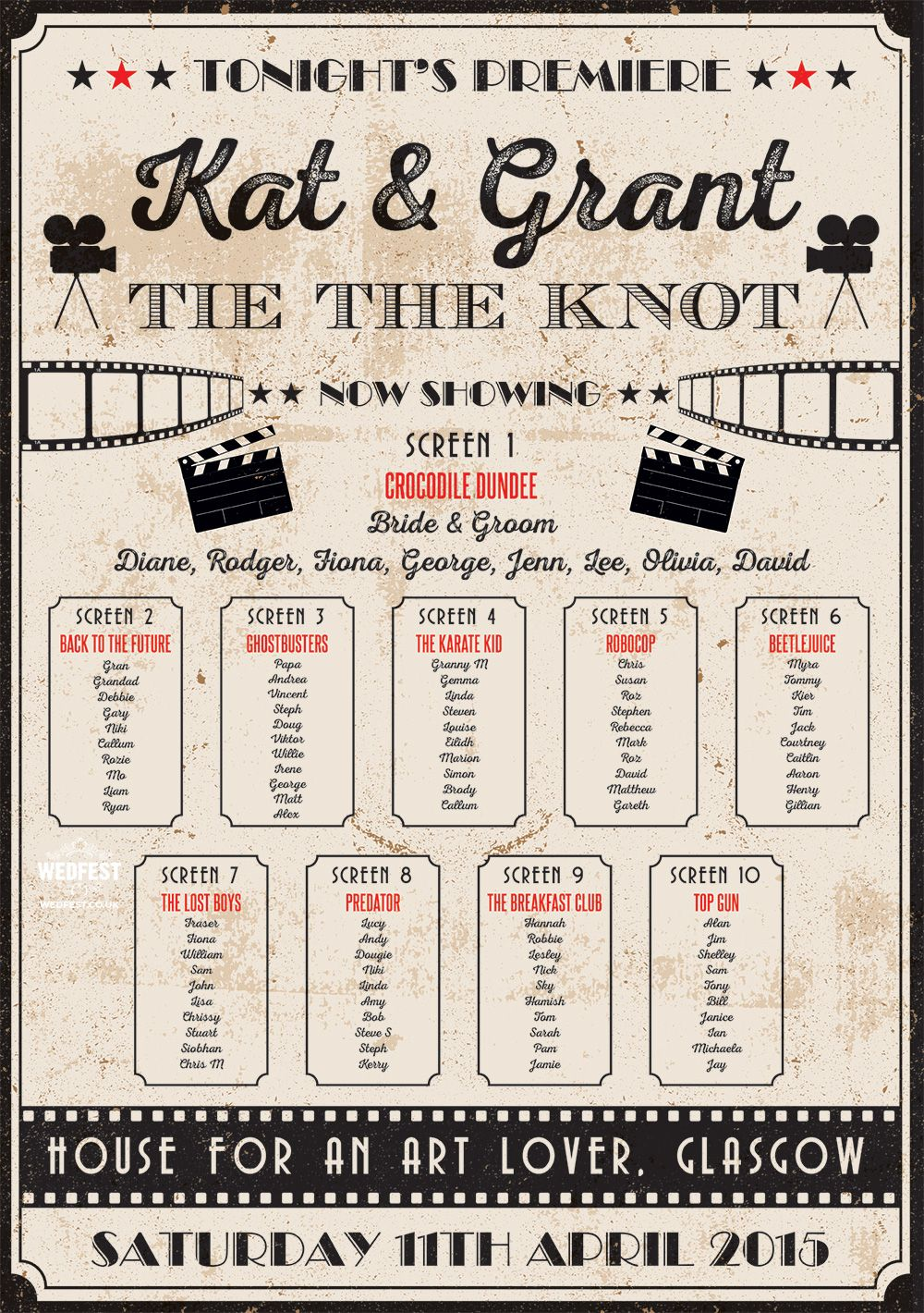 Vintage cinema poster wedding table seating plan movie for Table theme cinema