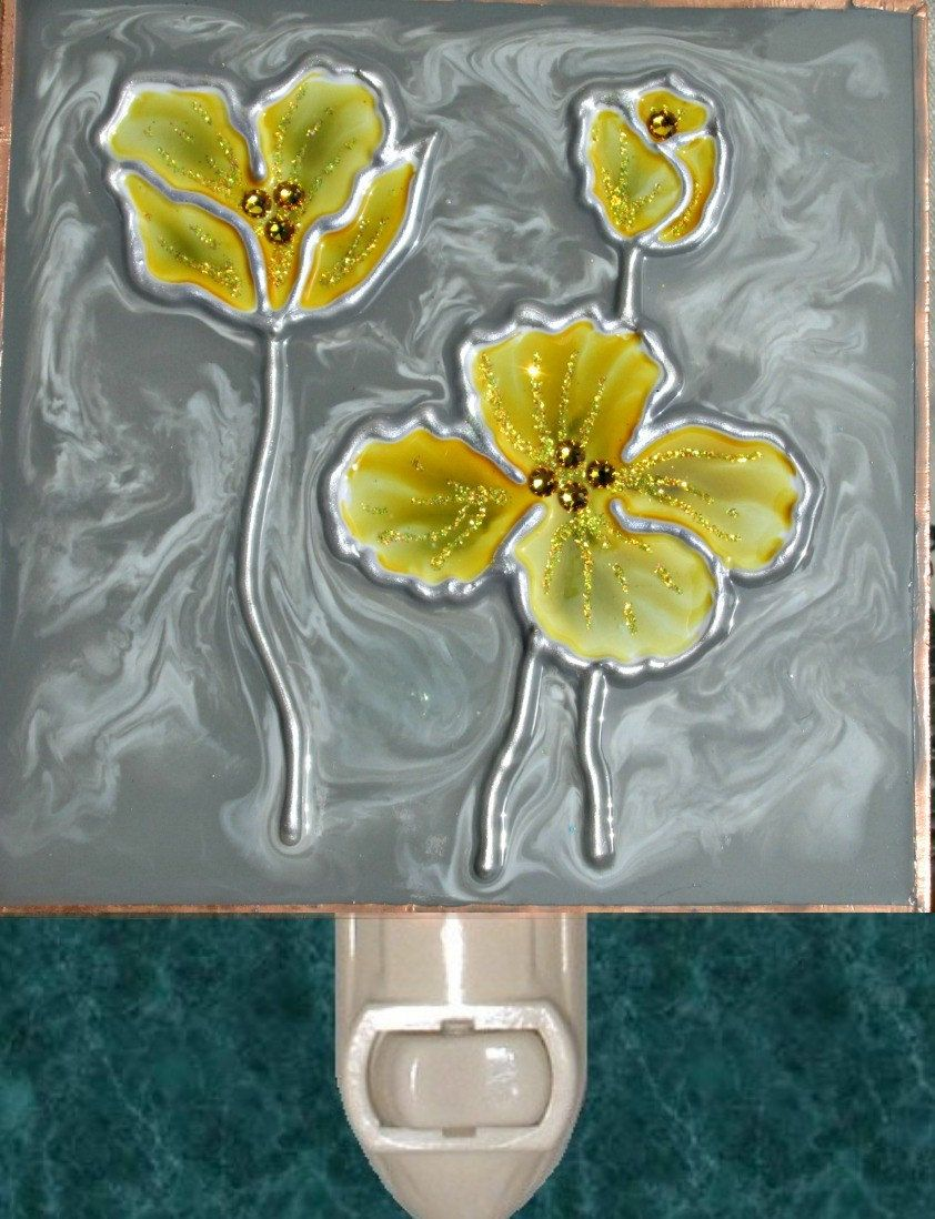 Grey And Yellow Poppy Flower Night Light Decorative Lights Bathroom Decor Nightlight By Luminabella On