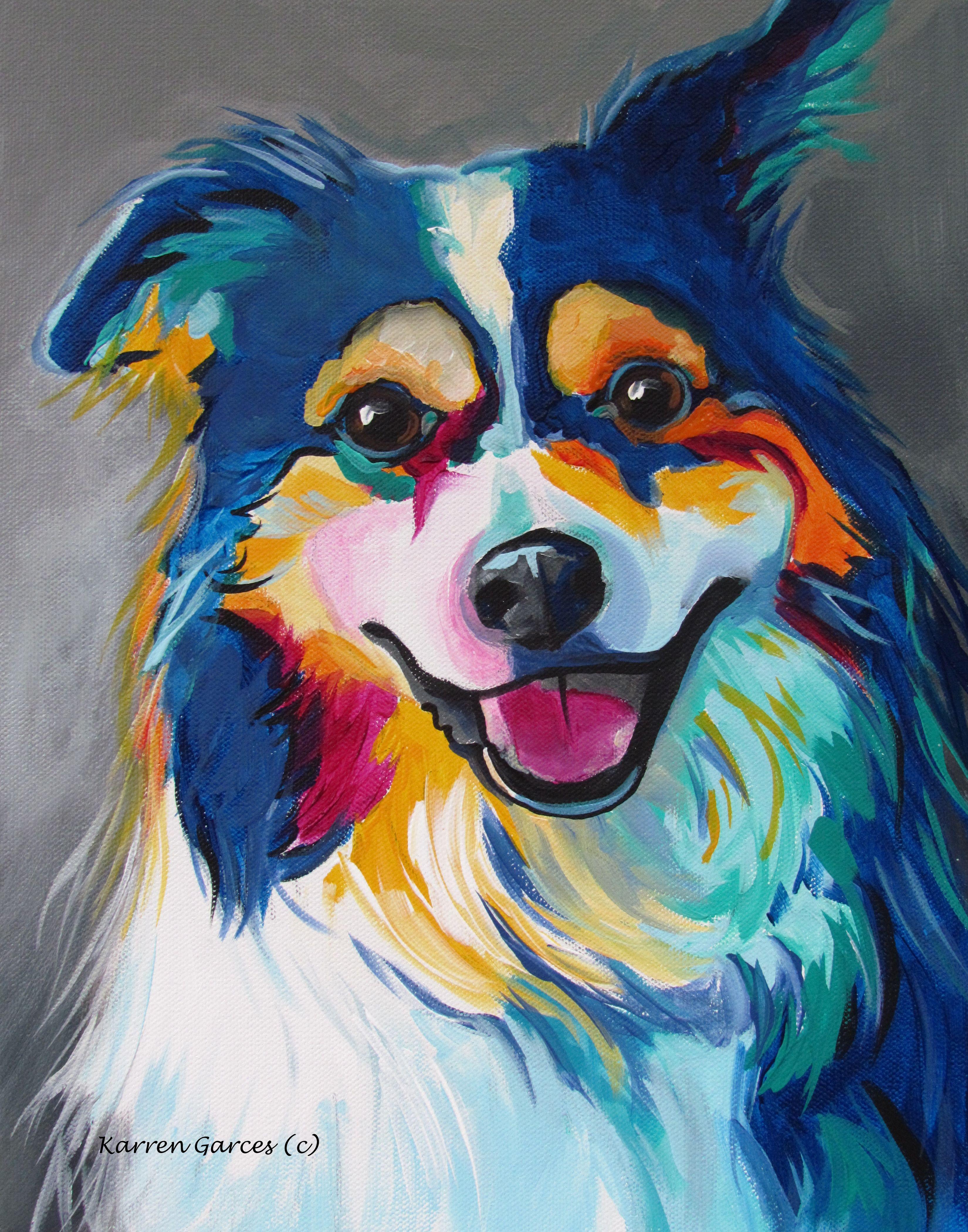 Border Collie, Pop Art Pet Portrait, Custom Acrylic