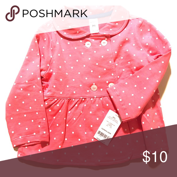 677308febf60a Carter s Pink and White Polka Dot Jacket Adorable Carter s pink jacket with polka  dots. Size 24 months. Tag attached! Carter s Jackets   Coats