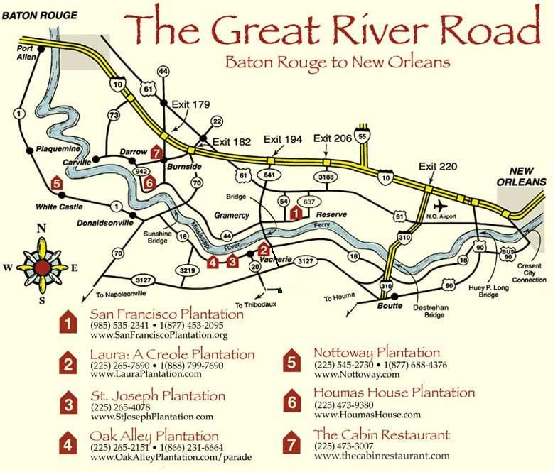 Map Of Plantations Near New Orleans Great River Road Plantations   I REALLY want to travel this one