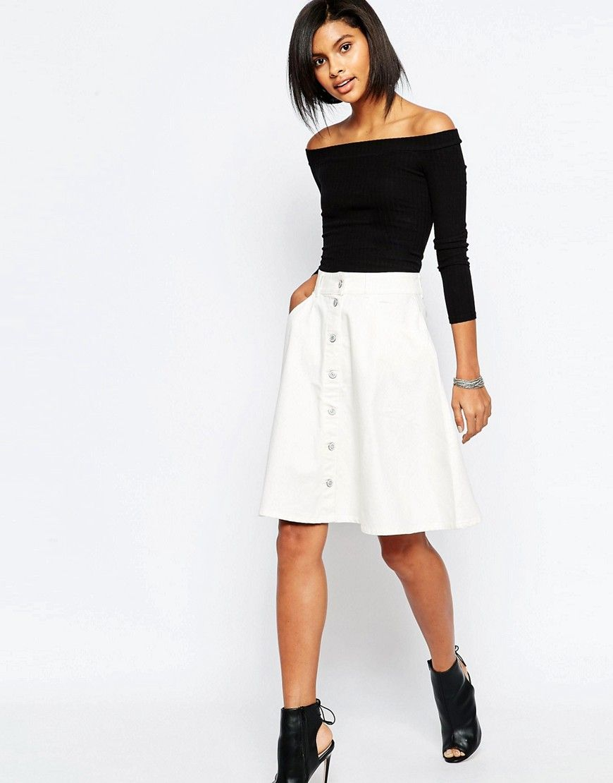 Vero Moda Button Front Denim A Line Skirt - White