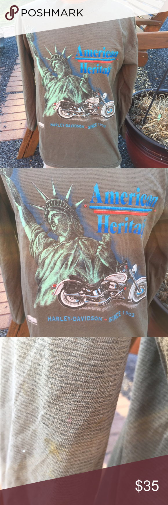 Harley Davidson Vintage 1980's Funwear Shirt Size large. Does have some minor spots here and there. Does show some wear around the collar. Still super awesome shirt Harley-Davidson Shirts Tees - Long Sleeve