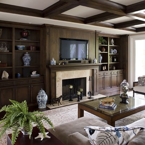 Dark Wood Built In Cabinets Family Room Design Ideas Pictures Remodel And Decor Traditional Design Living Room Black Living Room Family Room Design
